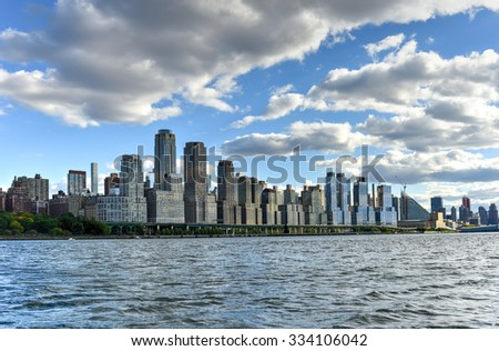 New York City skyline showing the west-side in autumn.
