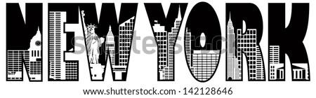 New York City Skyline Text Outline Silhouette Black and White Raster Vector Illustration - stock photo