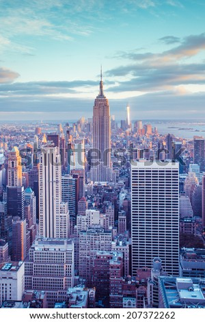 New York City skyline under pastel evening sky - stock photo