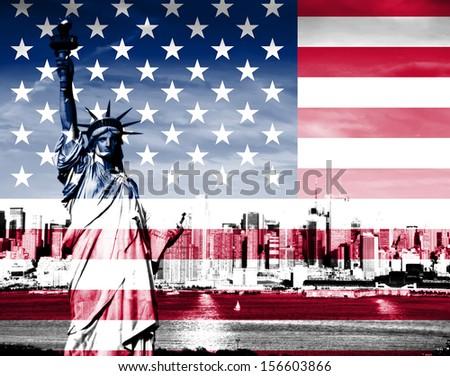 New york city skyline with american flag - stock photo