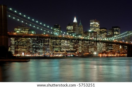 New York City Skyline with Brooklyn Bridge in the Foreground