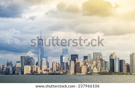 New York City skyline with freedom tower - stock photo