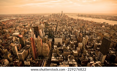 New York city skyline with orange filter - stock photo