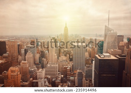 New York City skyline with retro filter effect - stock photo