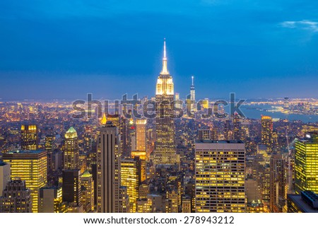 New York City skyline with urban skyscrapers at dusk, USA. - stock photo