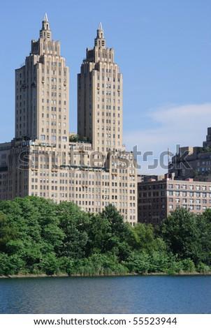 New York City skyscraper apartments near central park. - stock photo