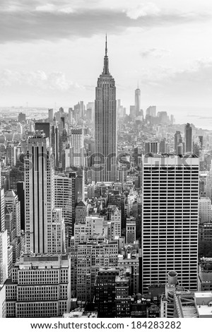 New York City skyscrapers, aerial view - stock photo