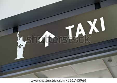 New York City Staten Island terminal the Taxi sign - stock photo