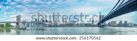 New York City - Stunning panoramic view of Brooklyn and Manhattan Bridge with skyline. - stock photo
