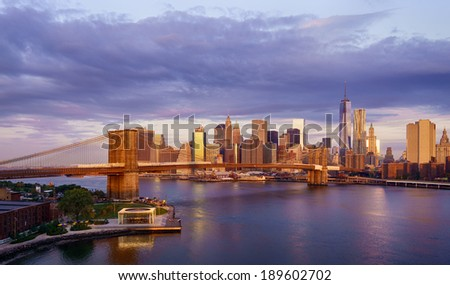 New York City sunrise - stock photo