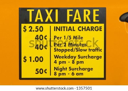 New York City Taxi Fare Decal