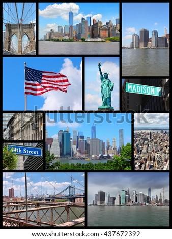 New York City travel collage - photo set with Statue of Liberty, Manhattan skyline and Brooklyn Bridge. - stock photo