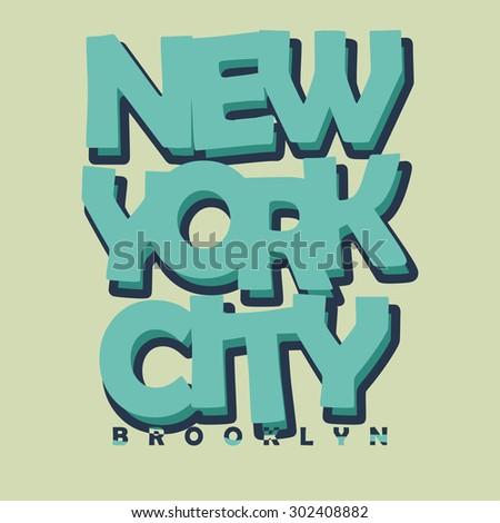 New York City Typography Graphics Label. T-shirt Printing Design, Brooklyn original wear -  illustration - stock photo