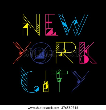 New York City typography. T-shirt graphics and other merchandise. - stock photo