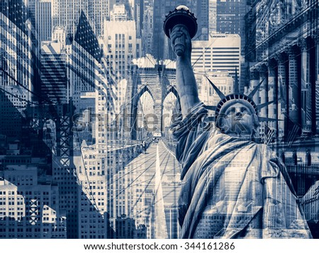 New York City, United States of America - Decorative collage containing several New York landmarks - stock photo