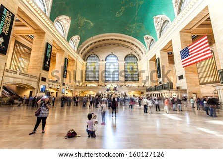 New York City, United States - September 24th, 2013: Tourists and travellers move through New York City's Grand Central Station