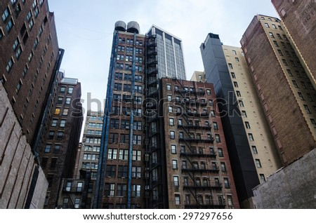 New York city urban residential buildings, cityscape - stock photo