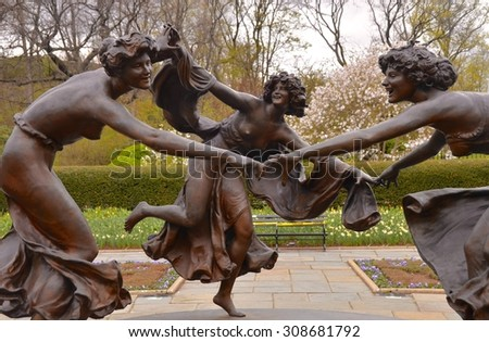 New York City, USA - April 25, 2015: Untermyer Fountain, Manhattan, NYC. The fountain and bronze cast of Walter Schott's Three Dancing Maidens sculpture, located in Central Park's Conservatory Garden.