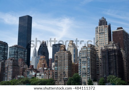 New York City, USA - Aug 09, 2016: Manhattan buildings including Chrysler Building, New York City, USA. New York is the most populous city in the United States of America.