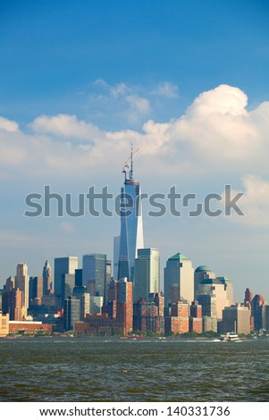 New York City, USA colorful skyline with landmark buildings in downtown Manhattan business and residential districts with blue sky - stock photo