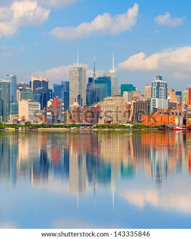 New York City USA, downtown landmark office buildings with reflection - stock photo