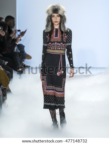 New York City, USA - February 12, 2016: A model walks the runway during the Nicole Miller's show as a part of Fall 2016 New York Fashion Week