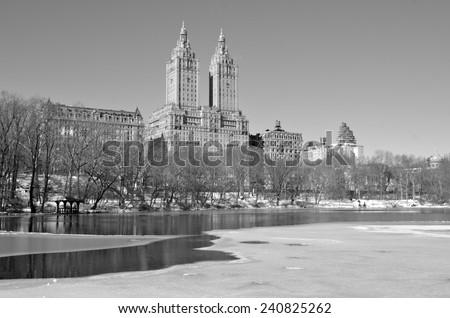 New York City, USA - January 22, 2014:  Central Park in the winter, Manhattan, New York City. - stock photo