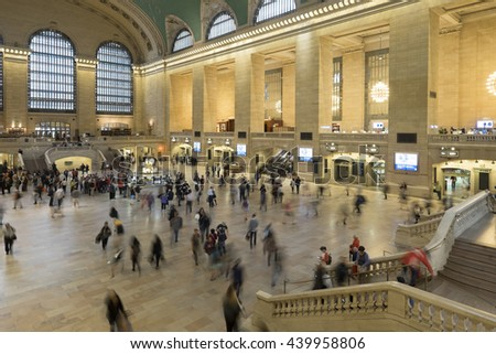 NEW YORK CITY, USA - JUNE 06 2016 - Main lobby with stairs at Grand Central Terminal, the largest train station in the world by number of platforms New York City, USA.