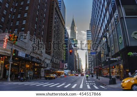 NEW YORK CITY - USA, JUNE 14 2016: Streets at the center of New York City on June 14 2016. - stock photo