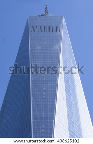 NEW YORK CITY, USA - JUNE 07 2016 - The World Trade Center Tower One is the tallest building in the Western Hemisphere in Lower Manhattan, New York, USA - stock photo