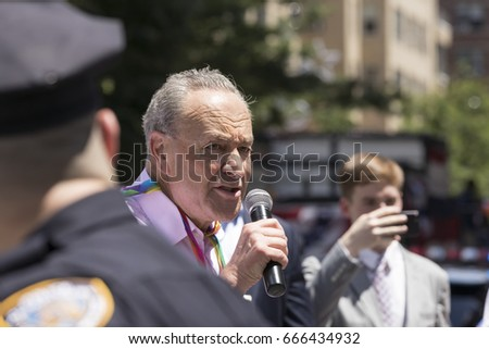 New York City, USA-June 25, 2017: U.S. Senator Chuck Schumer participates in NYC Pride March. Gay Pride events occur throughout the month of June, culminating with the March along the 5th Avenue.