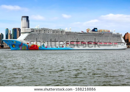 NEW YORK CITY, USA - MARCH 23, 2014: Norwegian Cruise Line ship Norwegian Breakaway  Sails from New York on March 23, 2014. The  ship can accommodate more than 4000 passengers and 1600 crew members.  - stock photo