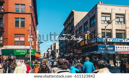 ... Italy sign in Lower Manhattan. Little Italy is an Italian famous