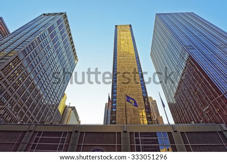 NEW YORK CITY, USA - MAY 7, 2015: Modern skyscrapers of Downtown Manhattan near Park Avenue. New York City, USA - stock photo
