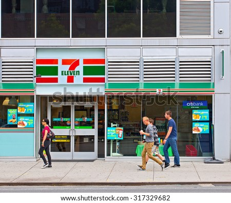 NEW YORK CITY, USA-May 26, 2013: Seven Eleven 7-11 store in  New York City, one famous world largest franchise of convenience stores  - stock photo