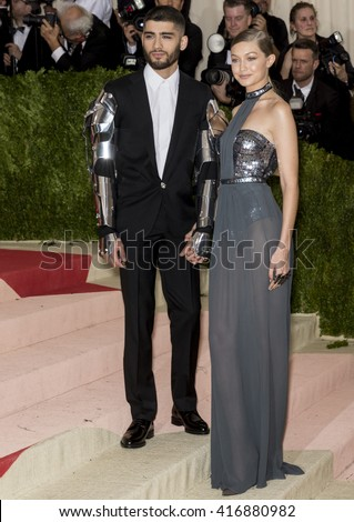 New York City, USA - May 2, 2016: Zayn Malik and Gigi Hadid attend the Manus x Machina Fashion in an Age of Technology Costume Institute Gala at the Metropolitan Museum of Art
