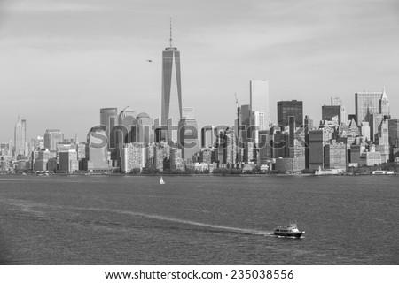 New York City, USA - November 4: View of a touristic ferry boat on Hudson River near New York City, USA on November 4, 2014. - stock photo