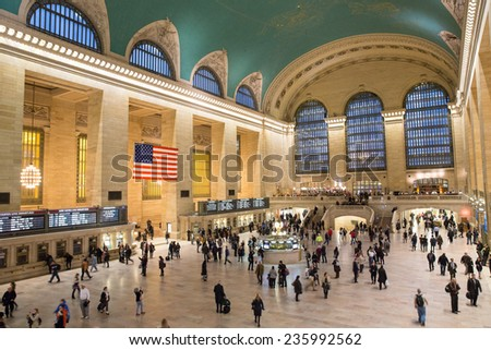 New York City, USA - November 6: View of the Grand Central Station in New York City, USA on November 6, 2014. - stock photo