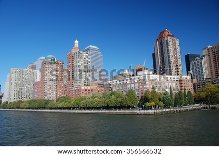 NEW YORK CITY, USA - Oct 26, 2008: Skyline and East River NYC most powerful place of America with five boroughs - Brooklyn, Queens, Manhattan, the Bronx, Staten Island - stock photo