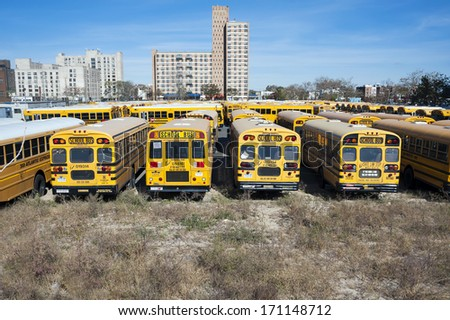 NEW YORK CITY, USA - OCTOBER 27: A New York City school buses. In the United States, school buses provide an estimated 10 billion student trips every year. October 27, 2013 in New York City, USA - stock photo