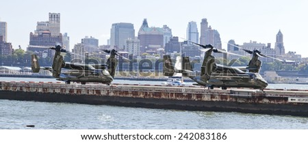 NEW YORK CITY, USA-OCTOBER 5, 2014: MV-22 Osprey. Marine Helicopter Squadron One (HMX-1) is responsible for the transportation of the President of the United States, Vice President, and other VIPs - stock photo