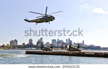 NEW YORK CITY, USA-OCTOBER 5, 2014: MV-22 Osprey. Marine Helicopter Squadron One (HMX-1) is responsible for the transportation of the President of the United States, Cabinet members and other VIPs - stock photo