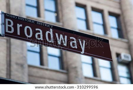 NEW YORK CITY, USA - SEPTEMBER, 2014: Broadway street sign in New York City