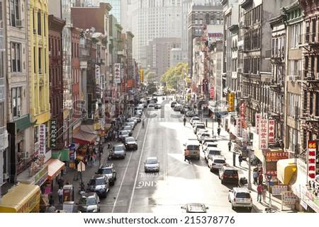 New York City, USA - September 21, 2013: Chinatown in New York City seen from Manhattan bridge.  - stock photo