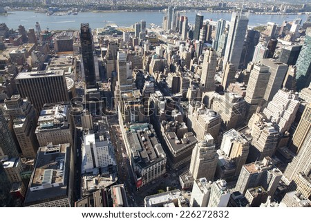 New York City, USA - September 27, 2014: High angle view of Manhattan in New York City.