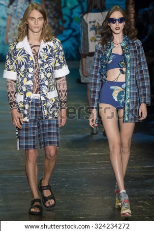 New York City, USA - September 16, 2015: Nicola Wincenc and Anna Cleveland walk the runway at the Anna Sui fashion show during the Spring Summer 2016 New York Fashion Week - stock photo