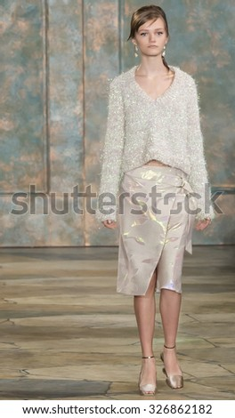 New York City, USA - September 15, 2015: Peyton Knight walks the runway at the Tory Burch fashion show during the Spring Summer 2016 New York Fashion Week at David H. Koch Theater at Lincoln Center