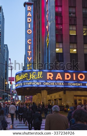 NEW YORK CITY,USA-SEPTEMBER 17,2015: Radio City Music Hall in New York which is an entertainment venue located in Rockefeller Center. It was for a time the leading tourist destination in the city. - stock photo