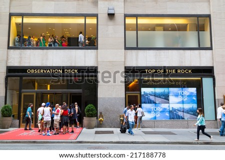 NEW YORK CITY, USA -  30TH AUGUST 2014: The entrance to the TOP OF THE ROCK viewpoint in central New York. Showing queues of people
