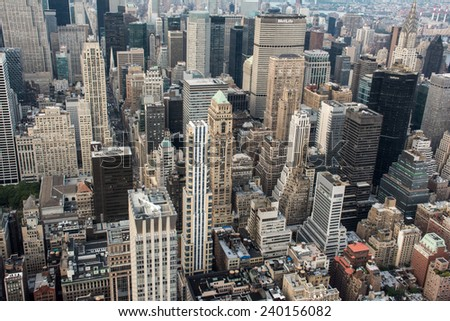 New York City view from above on August 5 2014, New York City, New York, USA